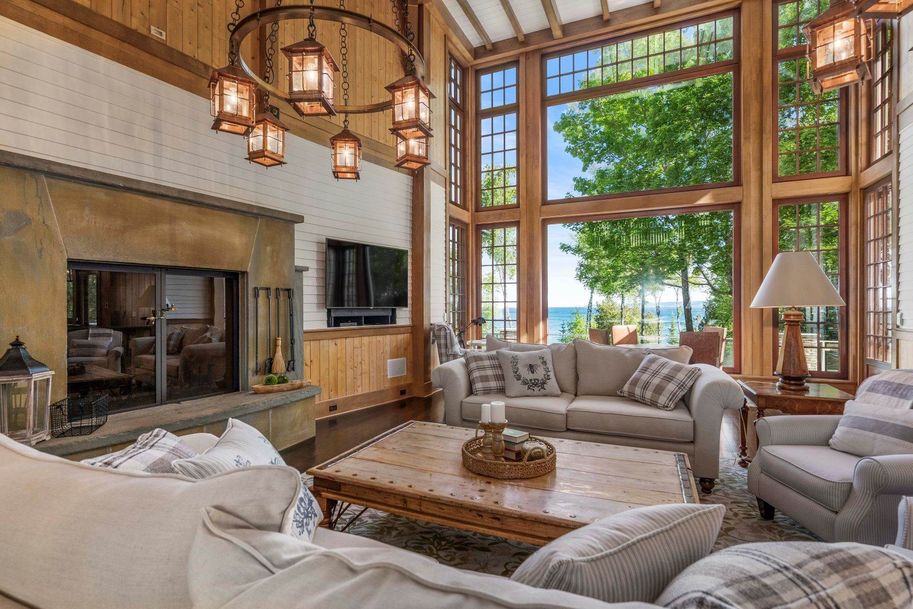 6. Single Family Homes for Sale at Private Lake Michigan Estate 6744 Preserve Drive North Bay Harbor, Michigan 49770 United States