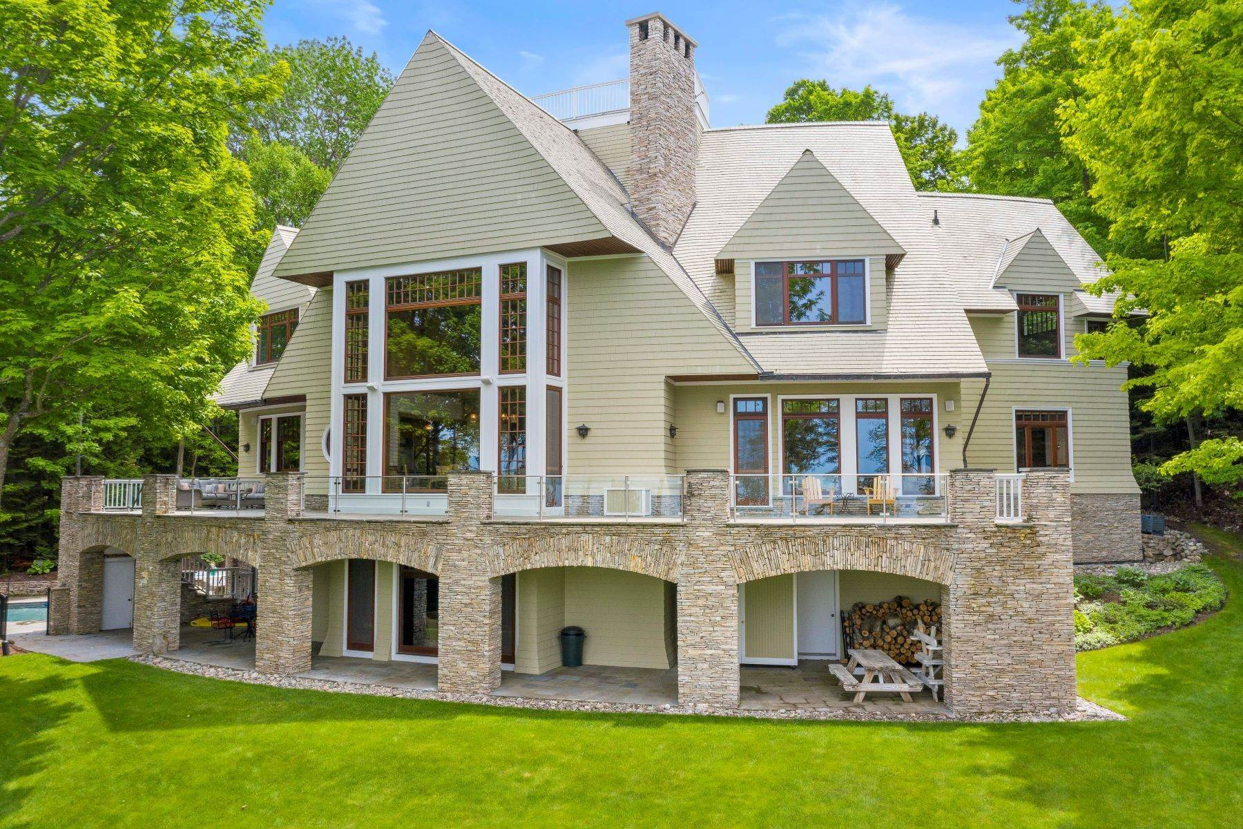 Single Family Homes for Sale at Private Lake Michigan Estate 6744 Preserve Drive North Bay Harbor, Michigan 49770 United States